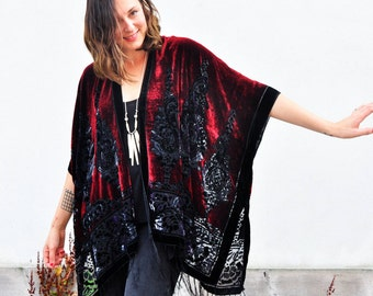 Velvet Kimono: Burgundy and Purple Paisley Velvet Burnout Fringe Kimono Jacket Poncho Cover Up