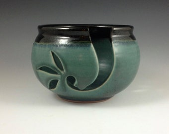 Turquoise Stone and Black Yarn Bowl
