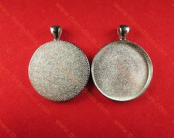 30mm Pendant Setting - Shiny Silver - 10 pcs