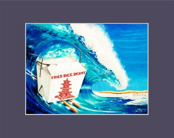 Fried Rice Benny funny Surf Art Print Chinese takeout surfing big waves chopsticks Beach
