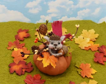 Needle Felted Fall Squirrel In A Pumpkin Display