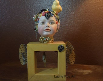 Button Head Birdie Porcelain Doll Head Covered In Buttons Vintage Jewelry Artsy Unique Mixed Media Assemblage Art Sculpture OOAK