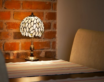 Small Lamp, Nightstand Lamp, Bedside Decor, Bedside Lamp, Amber Glass Lamp, Amber Lamp, Amber Decor, Stained Glass Lamp, Small Lamp Shade