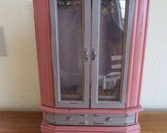 "Vintage Upcycled Jewelry Box Painted using Anne Sloan Brand Chalk Paint ""Scandanavian Pink"" Jewelry Armoire Storage for Necklaces and Rings"