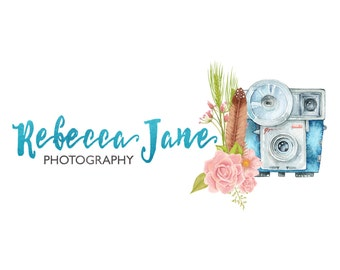 Premade Logo Watercolor Camera & Floral Calligraphy Logo - Hand painted Photography Logo and Watermark Design - Business Branding