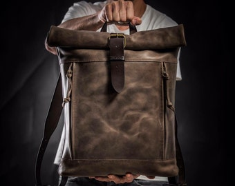 Roll top backpack by Kruk Garage Leather Backpack Brown leather backpack Men's backpack Leather rucksack Men's gift Personalized gift