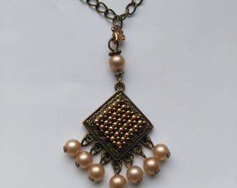 Chandelier Pendant, Peyote Square Pendant, Vintage Pearl Necklace, Dangle Brass Necklace - Beadwork Peyote Jewelry by enchantedbeads on Etsy