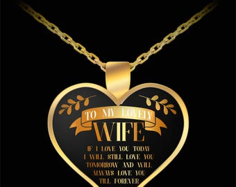Gift For Her - To My Lovely Wife If I Love You Today - Heart Pendant Necklace Charm Gold Valentine's Day