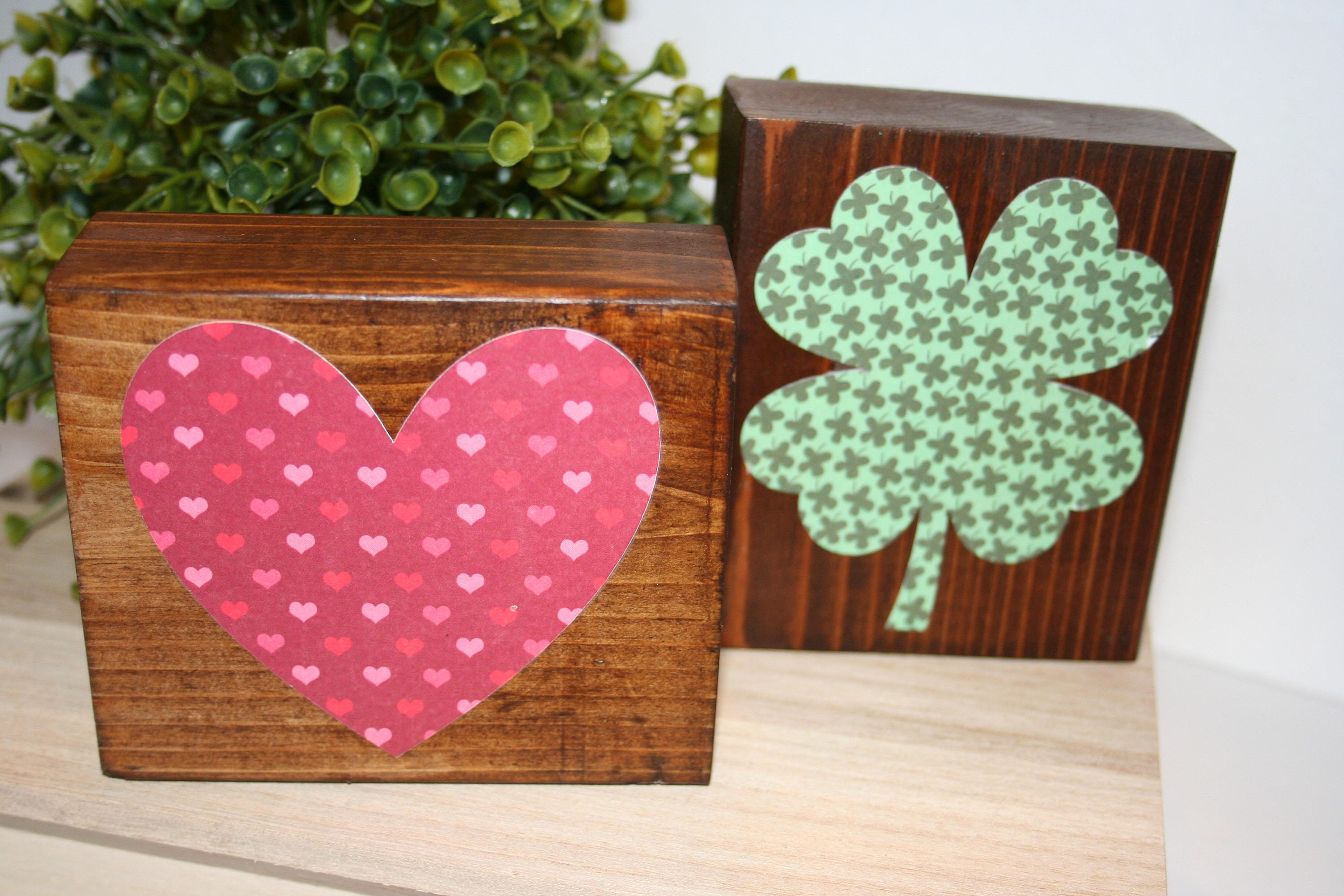 REVERSIBLE Valentine\'s St Patrick\'s or Easter Wood