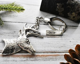 Deer Head Keychain - Hunting Season Autumn Keychain- Personalized Custom Keychain Antler Tag Keychain- Hunter Outdoors Hiker Forest Keyring