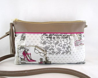 Bag shoulder bag in leather taupe and jacquard fabric