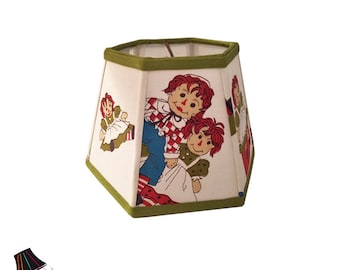 Raggedy Ann and Andy! Designer Lamp Shade with Vintage Fabric, Raggedy Ann and Andy Fabric, Raggedy Ann and Andy Decor, Vintage Lamp Shades
