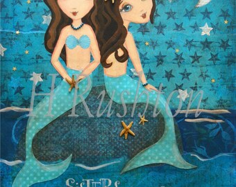 Mermaid Art - Mermaid Decor-  Mixed Media Art- Sisters Art-Moonlight Sister Mermaids (Brunette/Brunette) Print Sizes 11x14 or 16x20