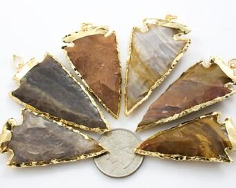 LARGE JASPER ARROWHEAD Gold Wrapped. Jasper Arrowhead --- ~2 - 2.5 inches