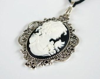 Gorgeous Black & White Portrait Cameo Necklace