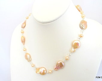 Pink pearl strand, peach baroque pearl necklace, sterling silver, fine jewelry gift