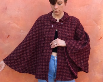 Vintage 1960s Maroon Wool Tweed Cape. Victorian Steampunk Medieval LARP Renaissance. One Size Fits All