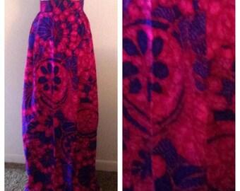 Vibrant Vintage Purple and Blue Floral Skirt