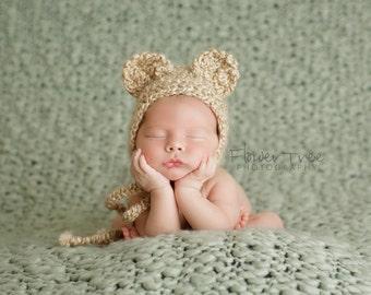 Newborn Bear Bonnet, Newborn Bear Hat, Brown Bear Hat, Newborn Photo Prop, Baby Bear Hat, Neutral Newborn Hat, Baby Boy Or Girl Photo Prop