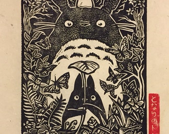 Totoro Block Print