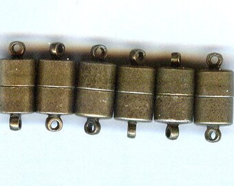 6 Magnetic Clasps with Loops Antique Bronze Color Very Strong