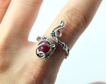 Red Jade Ring ''Soul'' Sterling silver ring - Red gemstone ring - Steampunk ring - Jade ring -Gothic ring - healing crystals - birthstone