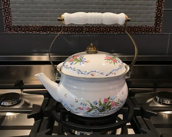 Metal Enamel Tea Kettle with Brass and Ceramic Handle Decorated with Bouquet Flowers, Stove Top Teapot, Vintage Item #588813666