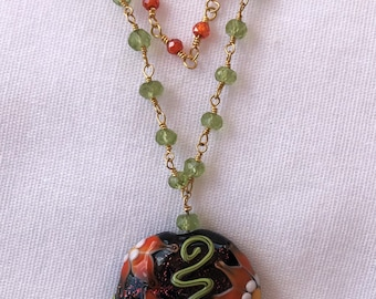 Lampwork Floral Pendant Necklace with Carnelian and Peridot