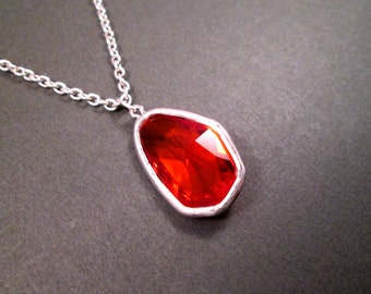 Glass Bezel Necklace, Bright Orange Red, Silver Pendant Necklace, FREE Shipping U.S.