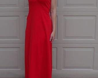 BRIGHT RED 70's MAXI dress gown sleeveless L 40 bust
