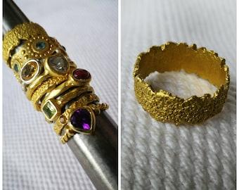 """AMJ - Collezione """"Mixing Textures"""" - Fedina fascia NERONIA in bronzo giallo"""
