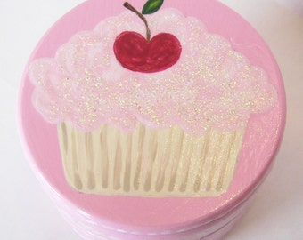 Hand Painted Love Boxes Pink Cupcake Cherry Box Wood