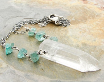 Quartz Crystal Pendant and Blue Green Apatite Necklace - Raw Quartz - Seafoam Apatite - Sterling Silver - #4925
