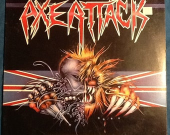 Axe Attack UK English Heavy Metal Compilation 33 RPM Record Album VG 80's