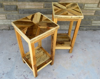 Simple End Tables (Pair) Made From Reclaimed Shipping Pallet Wood In A  TreeBone Chevron