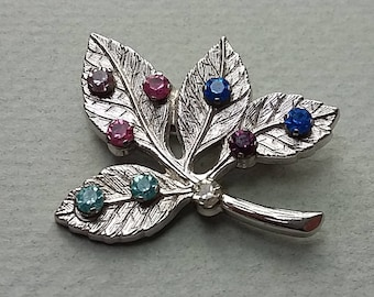 Vintage Sterling Silver & Rhinestone Leaf Pin Brooch, Anson Sterling
