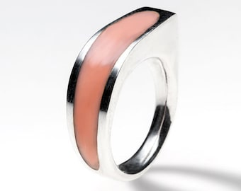Sterling silver ring with pale coral pink resin, handmade. Modern jewelry design. Different color.