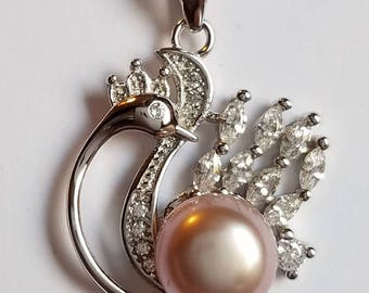 Sterling Silver Swan Pendant with a Lilac Pearl