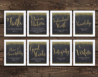 Young Women Values Printables, Gold Glitter and Chalkboard 16x20 Each, LDS Downloadable Young Women, CHALKBOARD Style Printable