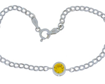 1 Ct Yellow Citrine Round Bezel Bracelet .925 Sterling Silver White Gold Quality