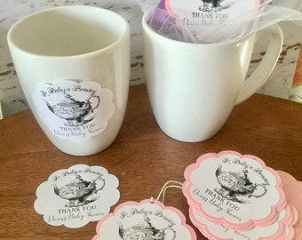 Party Favor Tags Stickers Love is Brewing - Tea Party Favor Sticker