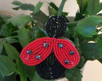Ladybug, Lady bug, Plant Stick,  French Beaded, Red & Black