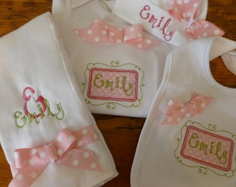 Personalized Coming Home outfit, Take  Home From Hospital Outfit,  Layette Gown, or one piece,, or one piece and Hat, bib and burp Set