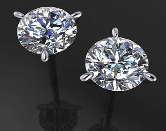 Private Listing for Cal -  4 carat NEO moissanite earrings, colorless moissanite, 14k gold stud earrings