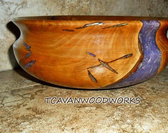 wood bowl inlaid with purple gold iridescent resin, hand turned on my wood lathe, wood turnings home decor art
