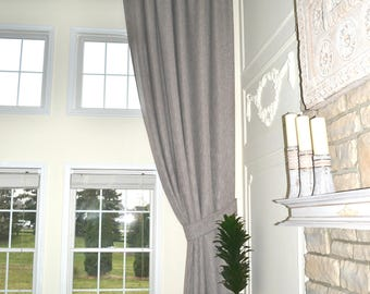 Extra long luxury solid linen curtain custom made 14 15 16 17 18 20 24 feet 9 ft Wide White Beige Gray Dark blue  2 story drapes FREE SWATCH