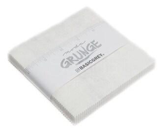 White Grunge Charm Pack- Moda