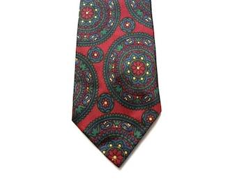 "Vintage 50s Mens Skinny Tie - Cranberry Red With Medallions - 2.25"" - Mens Skinny Ties - Mens Skinny Necktie - Indie Ties - Hipster Ties"