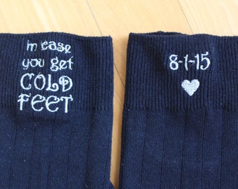 In Case You Get Cold Feet Socks with Wedding Date. Cute Funny Fun Groom Socks, Groom Wedding Gift,  Embroidered Cold Feet Socks. Canada.F21
