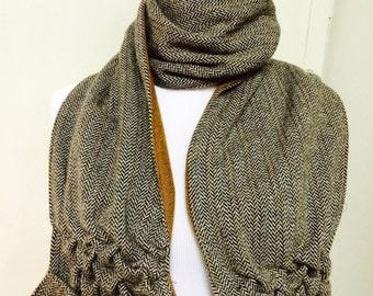 Woman's lambs wool brown and white herringbone scarf